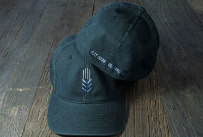 Embroidered hat front and back for only $18.